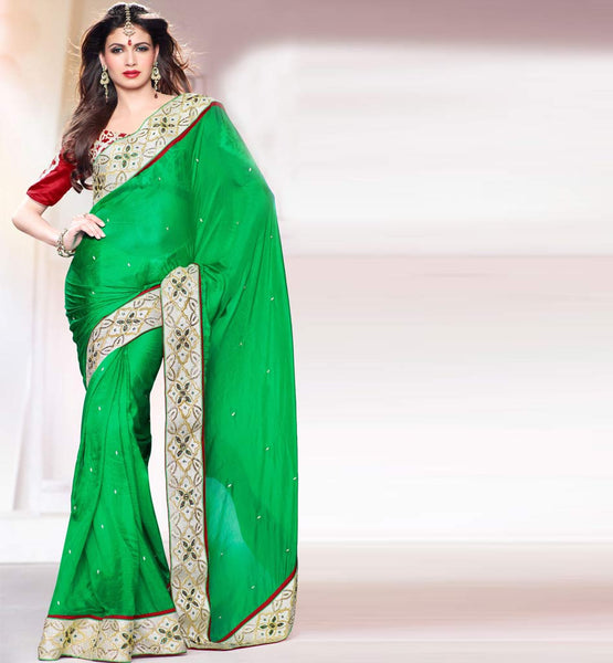 Green Pure silk saree with Maroon art silk blouse Wedding Designer Sarees Collection 1193