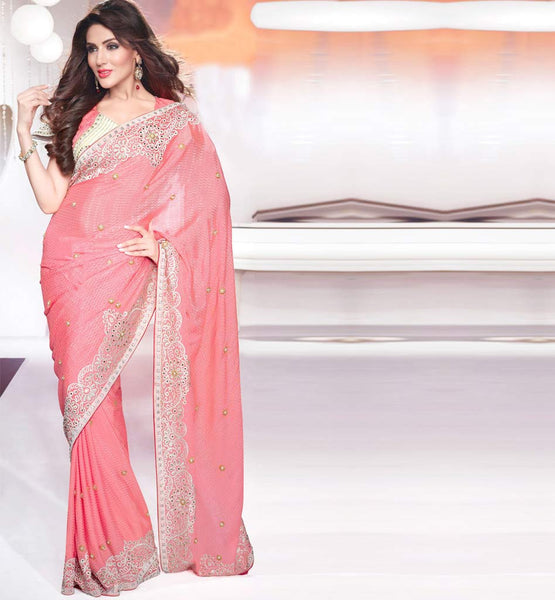 Pure bemberg pink saree with Pink bemberg blouse Wedding Designer Sarees Collection 1195