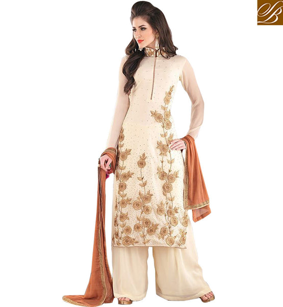 STYLISH BAZAAR PRESENTS ANGELIC WHITE BEAUTIFULLY EMBROIDERED SALWAAR KAMEEZ KMSH2702