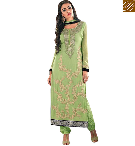 STYLISH BAZAAR INTRODUCES ALLURING GREEN DESIGNER PARTY WEAR SUIT FOR WOMEN KMSH2703