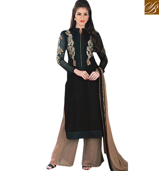 FROM THE HOUSE  OF STYLISH BAZAAR BEWITCHING BLACK FLORAL DESIGNED SALWAAR KAMEEZ STYLE KMSH2704