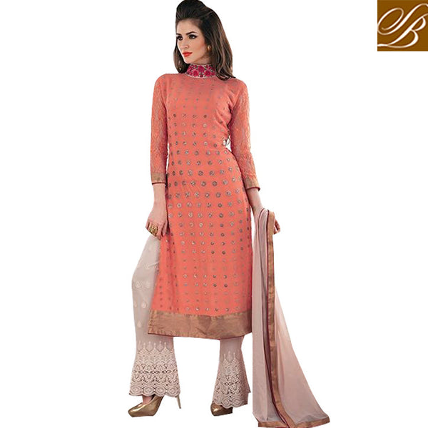 STYLISH BAZAAR INTRODUCES CAPTIVATING PEACH SALWAAR KAMEEZ DESIGN FOR SPECIAL EVENTS KMSH2706