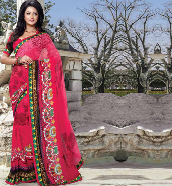 Casual saree buy online | georgette sarees by StylishBazaar