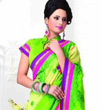 REMARKABLE GREEN GEORGETTE PARTY WEAR SARI RTCHA275