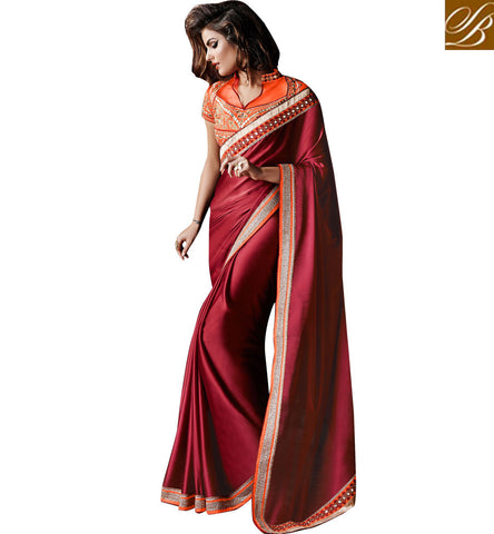 MAGICAL MAROON SATIN SAREE DESIGN WITH ORANGE BANGALORE SILK BLOUSE
