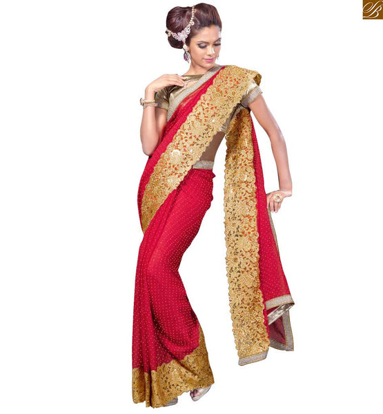 STYLISH BAZAAR INTRODUCES SUBLIME RED EMBROIDERED SAREE WITH CREAM BLOUSE RTVL28
