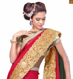 STYLISH BAZAAR SUBLIME RED EMBROIDERED SAREE WITH CREAM BLOUSE RTVL28
