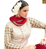 FROM STYLISH BAZAAR FASCINATING OFF WHITE & MAROON COLORED PLAZZO STYLE DESIGNER SUIT SLMHN28001