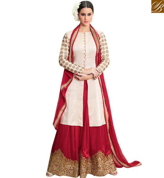 STYLISH BAZAAR FASCINATING OFF WHITE & MAROON COLORED PLAZZO STYLE DESIGNER SUIT SLMHN28001