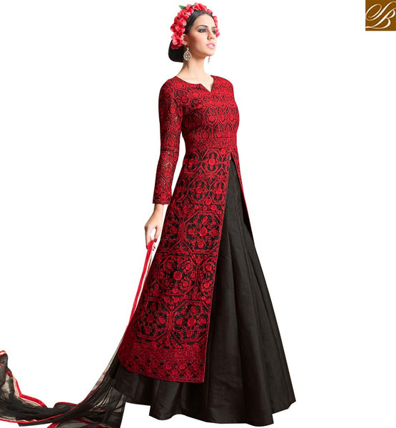STYLISH BAZAAR ALLURING RED & BLACK COLORED DESIGNER STRAIGHT CUT DRESS WITH FLORAL WORK SLMHN28002
