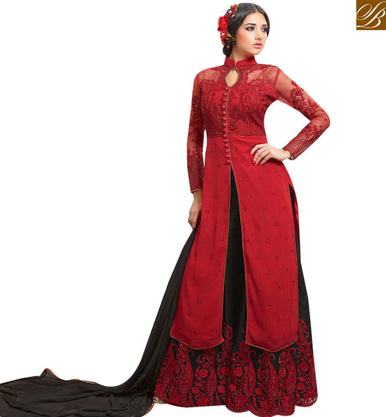 STYLISH BAZAAR APPEALING RED & BLACK COLORED PLAZZO STYLE DESIGNER SUIT SLMHN28004
