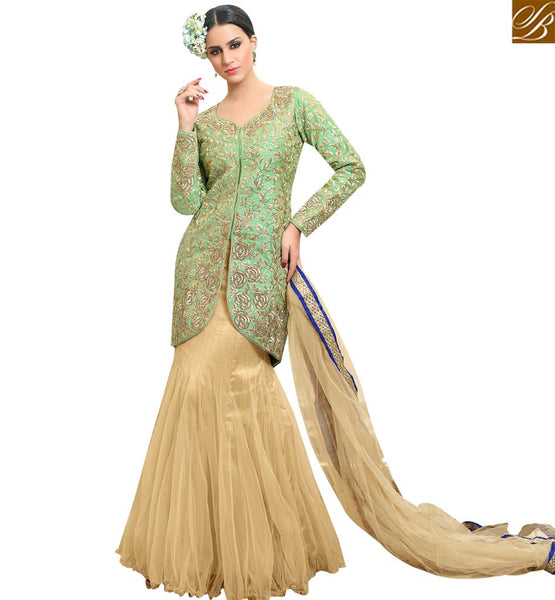 STYLISH BAZAAR ATTRACTIVE GREEN & CREAM COLORED LEHENGA STYLE DESIGNER SUIT SLMHN28005