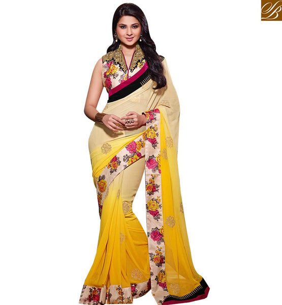 STYLISH BAZAR WONDERFUL YELLOW AND CREAM COLORED DESIGNER SAREE RTJM2806