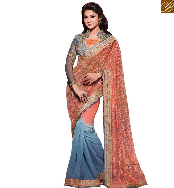 STYLISH BAZAAR BREATHTAKING ORANGE AND BLUE COLORED SAREE WITH BEAUTIFUL EMBROIDERY WORK RTJM2807