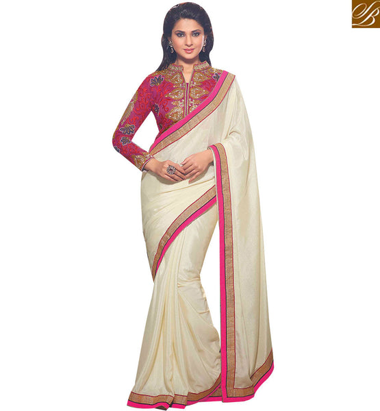 STYLISH BAZAAR GOOD-LOOKING CREAM AND PINK COLORED SAREE WITH BEAUTIFUL DESIGNER BLOUSE RTJM2808