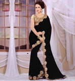 LATEST FASHION BLOUSE DESIGNS FOR SAREES SUPERB BLACK GEORGETTE SARI WITH CREAM HEAVY STONEWORK BROCADE BLOUSE