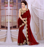 LATEST SAREE BLOUSE DESIGNS FOR INDIAN WOMEN RTSPF280_MOUTSTANDING  GEORGETTE MAROON SARI WITH CREAM HEAVY STONEWORK BROCADE BLOUSE