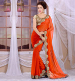 BUY ONLINE EVER STYLISH SAREE BLOUSE DESIGNS TRENDY ORANGE GEORGETTE SARI WITH CREAM HEAVY STONEWORK BROCADE BLOUSE
