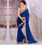 STYLISH BAZAAR BLOUSE DESIGNS FOR SAREES RTSPF280_R ROYAL BLUE RAJWARI GEORGETTE SARI WITH CREAM HEAVY STONEWORK BROCADE BLOUSE