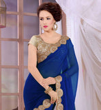 ROYAL BLUE RAJWARI GEORGETTE SARI WITH CREAM HEAVY STONEWORK BROCADE BLOUSE GRAB THIS BEAUTIFUL PARTY WEAR GEORGETTE MATERIAL SARI  FROM STYLISHBAZAAR . GOOD LOOKING LACE WORK IS DONE ON THE SAREE TO INCREASE ITS LOOK
