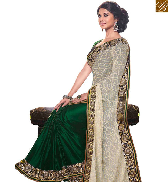 STYLISH BAZAAR STRIKING CREAM AND GREEN COLORED SAREE WITH GLITTERING BORDER WORK RTJM2810