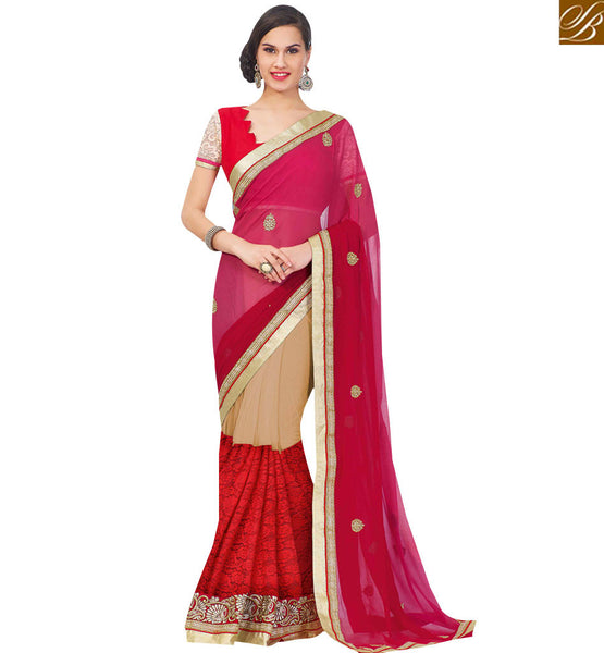 STYLISH BAZAAR ELEGANT MULTI COLORED HALF AND HALF SAREE RTJM2811