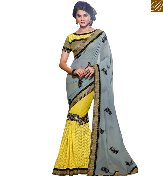 STYLOSH BAZAAR STUNNING MULTI COLORED DESIGNER HALF AND HALF SAREE RTJM2812