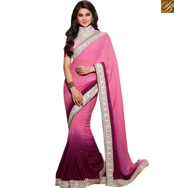 STYLISH BAZAAR GLAMOROUS PINK COLORED DESIGNER PARTY WEAR SAREE RTJM2813