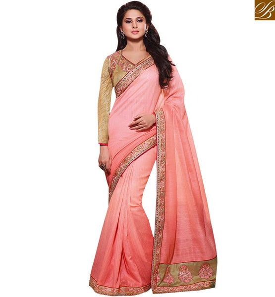 STYLISH BAZAAR GORGEOUS PINK AND CHIKOO COLORED DESIGNER PARTY WEAR SAREE RTJM2814