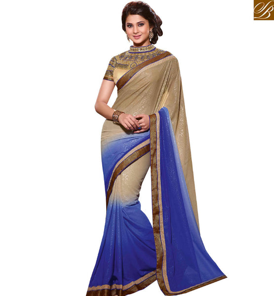 STYLISH BAZAAR GLITTERING CHIKOO AND BLUE COLORED DESIGNER SAREE RTJM2815