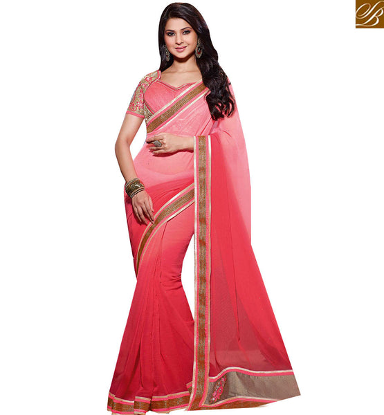 STYLISH BAZAAR INCREDIBLE PINK COLORED SAREE WITH SPLENDID EMBROIDERY WORK RTJM2816