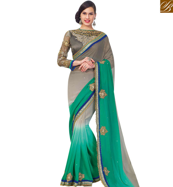 STYLISH BAZAAR RICH LOOKING GREY AND GREEM COLORED DESIGNER SAREE RTJM2817