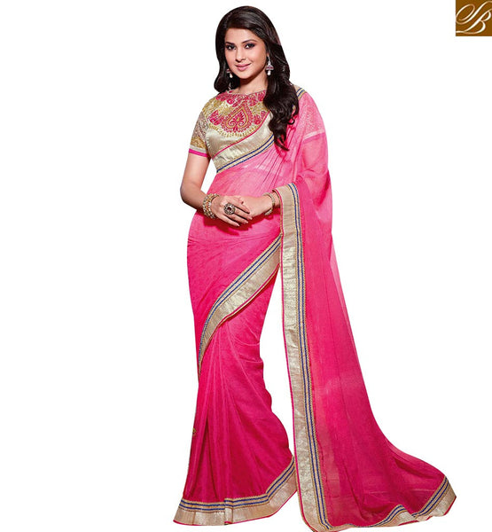 STYLISH BAZAAR IDEAL PINK COLORED SAREE WITH ATTRACTIVE BORDER WORK RTJM2818