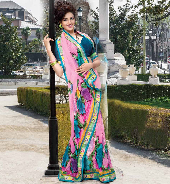 PINK PRINTED PARTY WEAR SAREE WITH BLOUSE STYLISHBAZAAR DESIGNER SAREES ONLINE SHOP