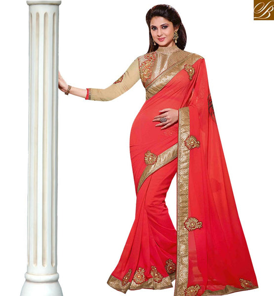 STYLISH BAZAAR AMAZING RED AND CREAM COLORED SAREE WITH GLITTERY EMBROIDERY WORK RTJM2821