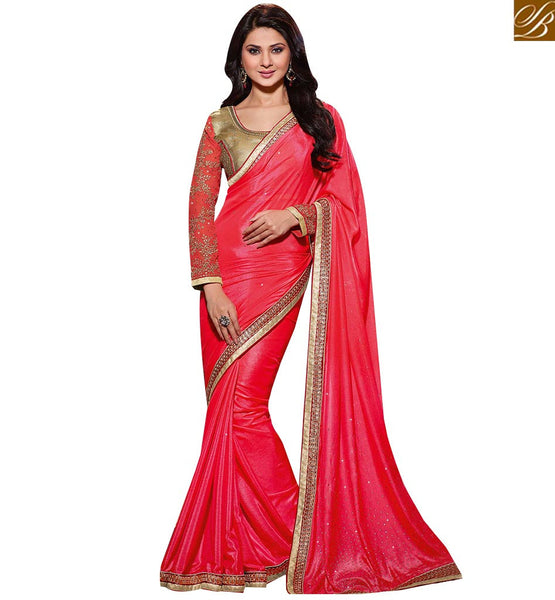 STYLISH BAZAAR MARVELOUS PINK COLORED DESIGNER SAREE RTJM2823