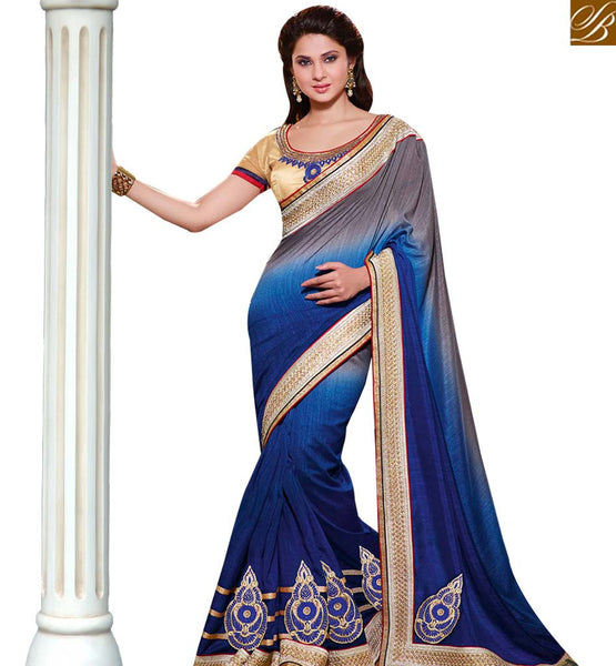 STYLISH BAZAAR WONDERFUL BLUE & GREY COLORED SAREE WITH GREAT BORDER WORK RTJM2824