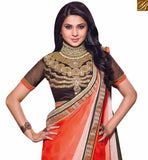 BROUGHT TO YOU BY STYLISH BAZAAR FABULOUS ORANGE AND BLACK COLORED DESIGNER WEDDING WEAR SAREE RTJM2825