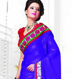 PLEASING BLUE DESIGNER GEORGETTE SARI RTCHA282