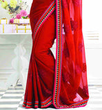 MAJESTIC MAROON GEORGETTE PARTY WEAR SARI RTCHA286
