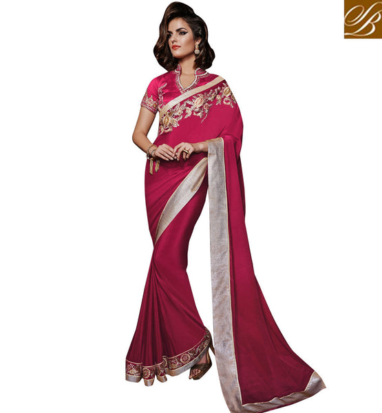 GLAMOROUS GEORGETTE EMBELLISHED SAREE WITH TRENDY BANGALURU SILK BLOUSE