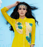 EXCITING YELLOW GEORGETTE PARTY WEAR TUNIC TOP