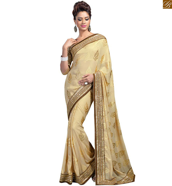 STYLISH BAZAAR PRESENTS  STUNNING CREAM COLOR SARI COMBINED WITH ART SILK CREAM BLOUSE RTVL29