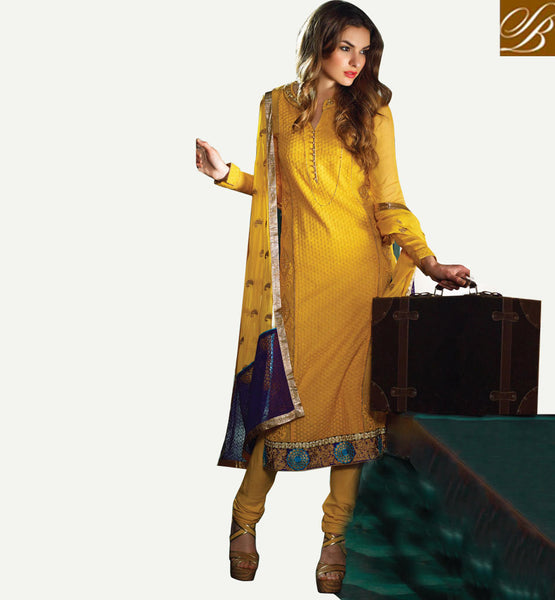 2015 DESIGN CHIFFON SALWAR KAMEEZ DRESS MATERIAL WITH DUPATTA YELLOW