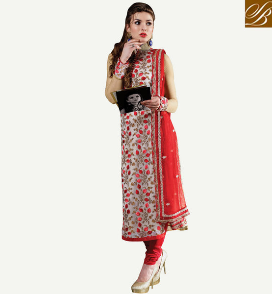 NEW LOOK LATEST DESIGN CHIFFON SALWAR KAMEEZ DRESS MATERIAL OFF WHITE CREAM