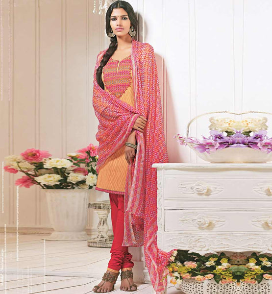 BOLD ORANGE COTTON SALWAR SUIT MATERIAL RTALM2913