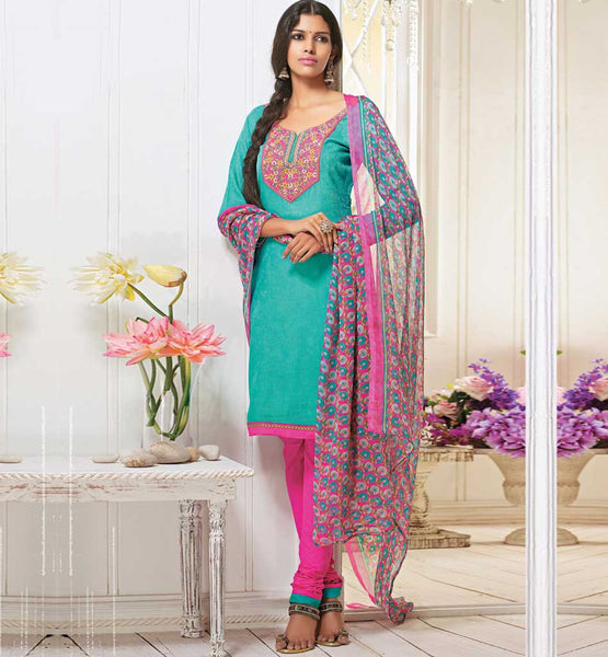 SOOTHING BLUE COTTON SALWAR SUIT MATERIAL RTALM2914