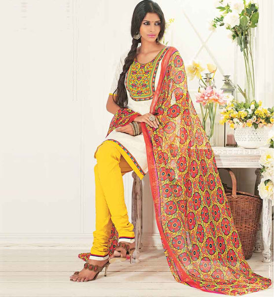 ENGAGING CREAM COTTON SALWAR SUIT MATERIAL RTALM2915
