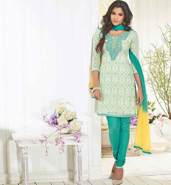 BEAUTIFUL BLUE COTTON DRESS SALWAR SUIT MATERIAL WITH DUPATTA RTZOB2917B