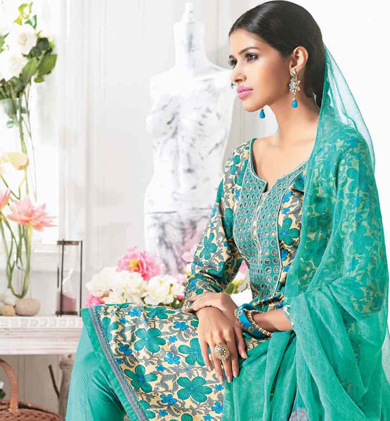 BEWITCHING BLUE COTTON DRESS SALWAR SUIT MATERIAL WITH DUPATTA RTZOB2919B